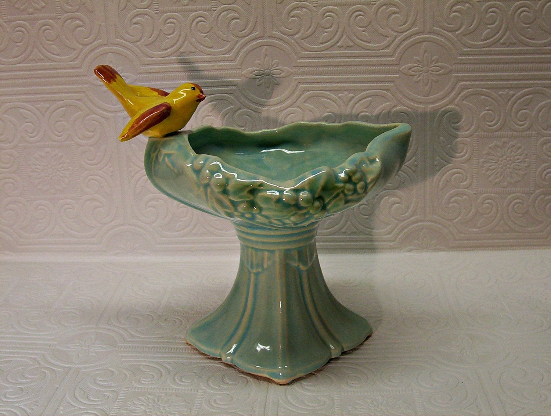 Reserved For Nancy Vintage Mccoy Bird Birdbath Art Pottery