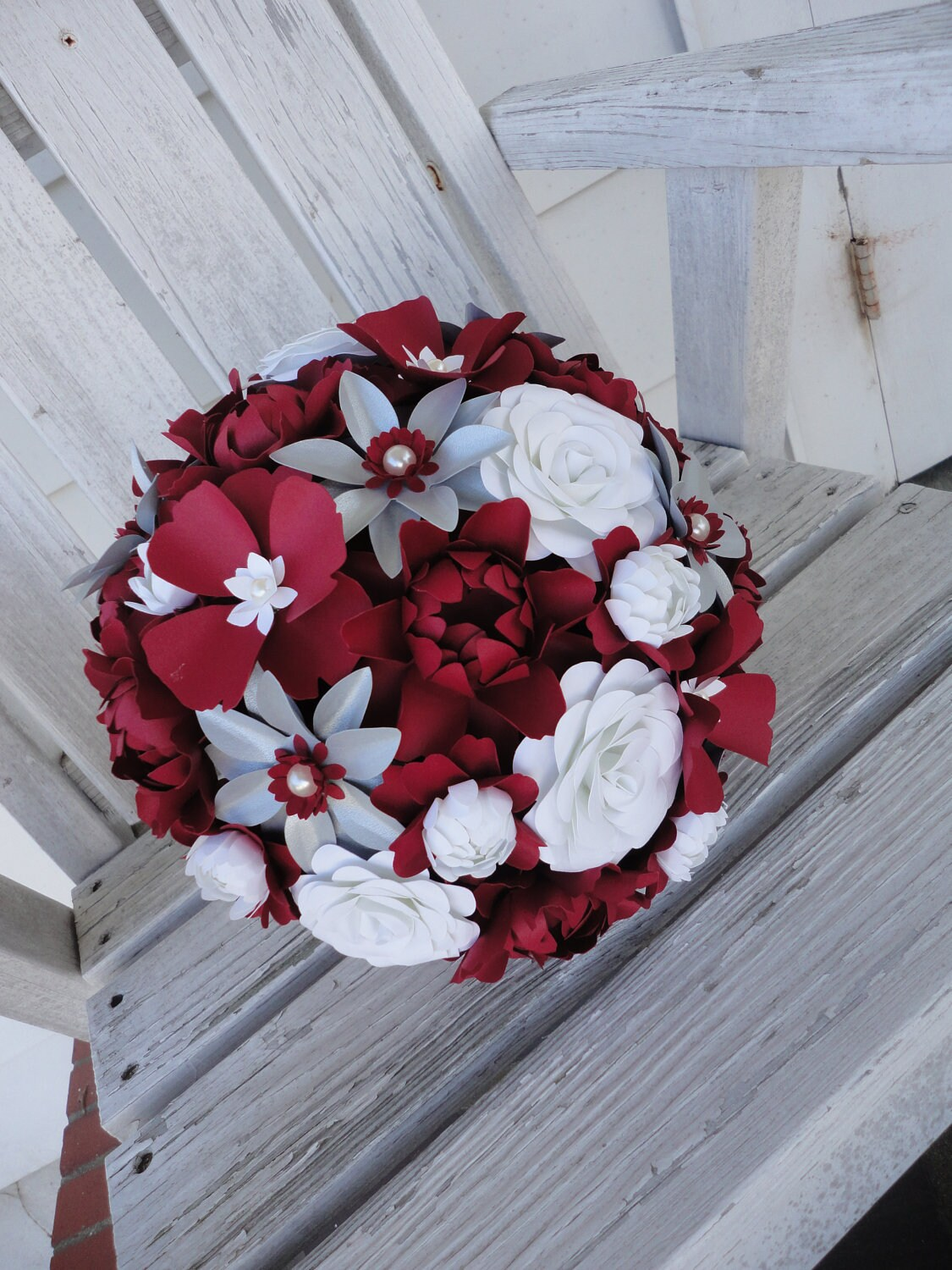 paper wedding flowers large bridal bouquet red by poshstudios. Black Bedroom Furniture Sets. Home Design Ideas
