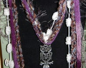 Scarf Necklace with Owl Pendant