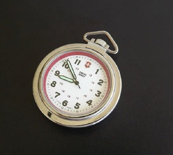 Vintage Swiss Army Pocket Watch Pocketwatch Leather Fob Case
