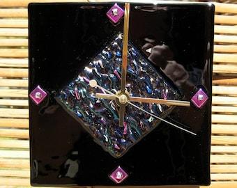 Fuchsia Wave fused glass clock
