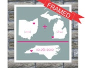 Long Distance Love Personalized Wedding Gift State Map Art Love Arithmetic Print FRAMED ART Any Location Worldwide Long Distance Art Print
