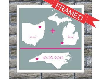 Custom Gift for Couple State Map Art Love Map FRAMED ART Anniversary Gift Personalized Gift for Groom Gift For Bride Framed Wedding Gift