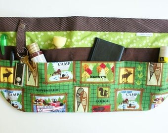 Utility Apron/Teacher Apron with 8 pockets and loop in brown green outdoor camp fabric