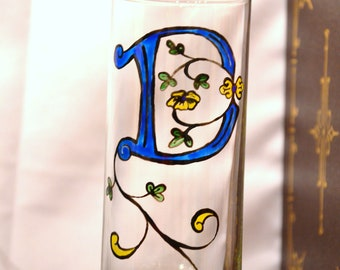 "Initial ""D"" - Handpainted Illumintated Letter - Celtic Style - 12 oz. Glass"