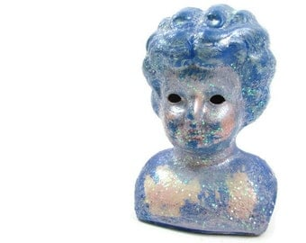 Crystal Blue Persuasion upcycled vintage porcelain doll head for display or collection