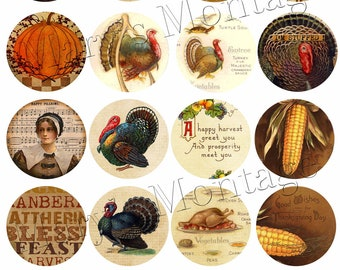 VIntage Thanksgiving Sheet of 20-  2 Inch circle graphics Download & Print