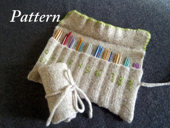 Knitting Needle Roll Pattern : PDF Pattern for Hand Knit Felt Needle Organizer/ 2 by PilgrimPurse