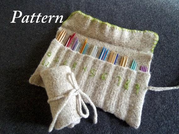 Knitting Needle Storage Pattern : Items similar to PDF Pattern for Hand Knit, Felt Needle Organizer/ 2 sizes: D...