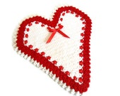 Handmade  Crochet Dishcloths Washcloths, gift, mothers day,  Red and white, Heart, unique