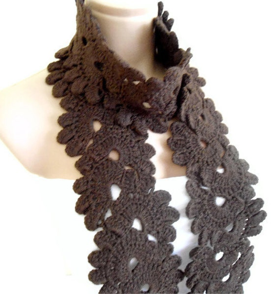 Ready to ship Crocheted Coffee, Lace Neckwarmer,fashion,autumn,Holiday Accessories,Christmas,Halloween,gift