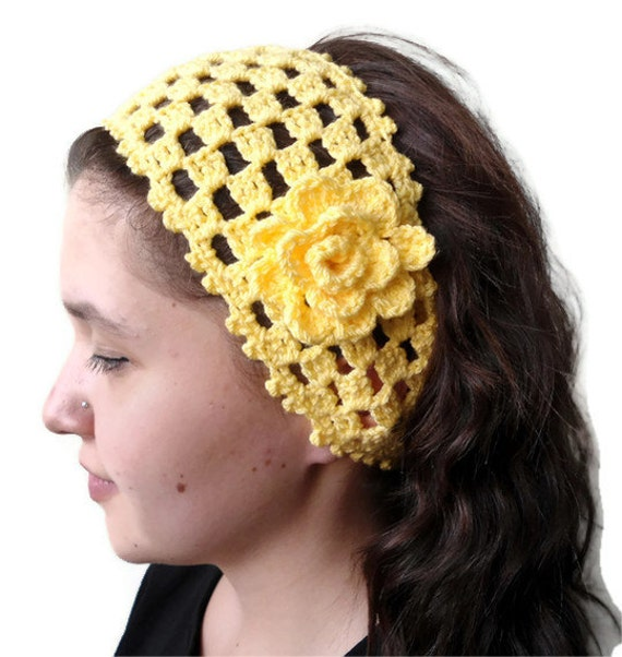 Crochet Hair Jewelry : yellow crochet headband , hair accessories ,gift ,unique Turkish style ...
