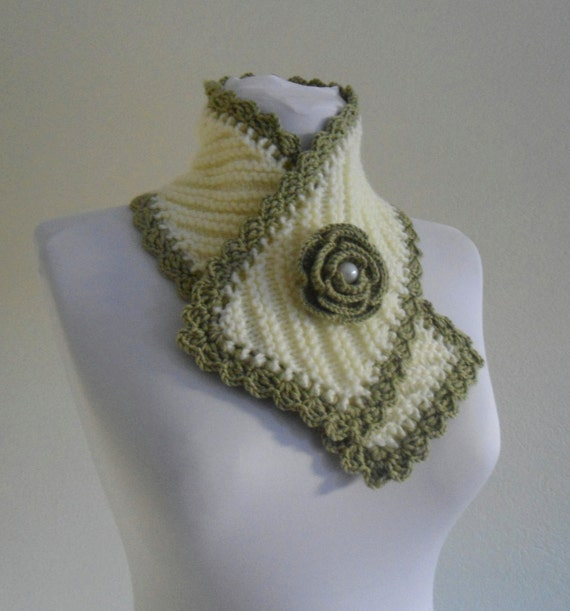 knit collar, Winter fashion, Green and Ivory neckwarmers, hand-knitted, new, Unique gift, 2013