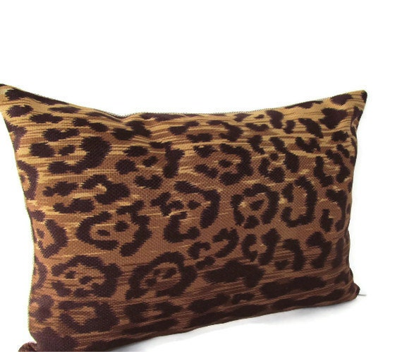 Decorative Designer Lumbar Pillow Cover Leopard Print 12 x 18