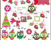 OWL CHRISTMAS. 15 piece clip art set in Png & Jpeg files.