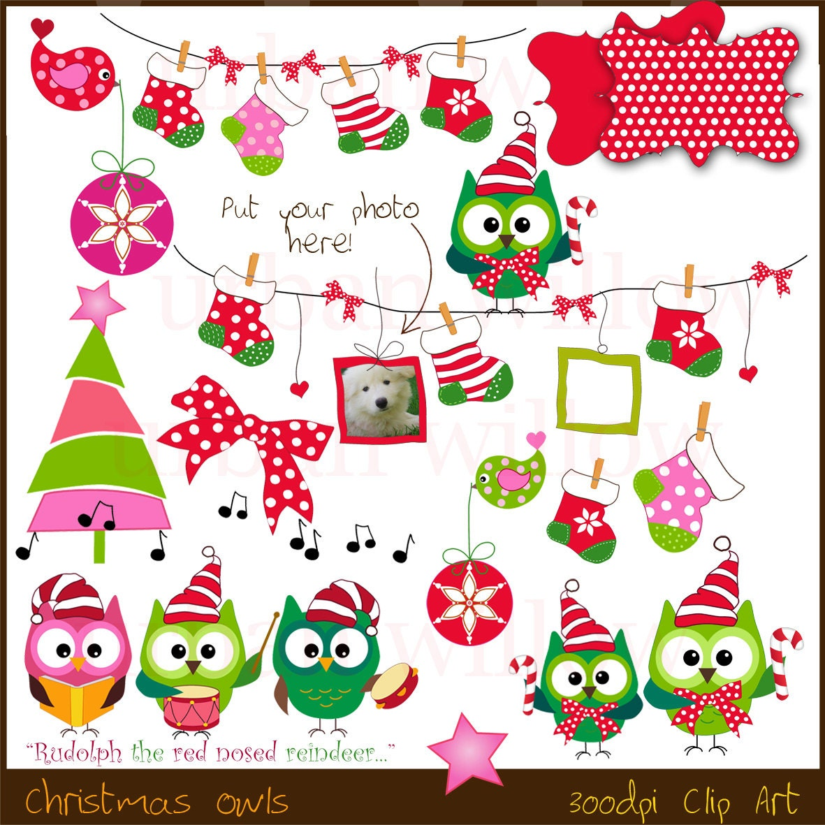 Christmas Clipart Funny Animals Cute Owl Clipart Quirky