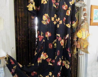 Gorgeous Long Floral Dark Dress - Black Background with Beautiful Flower Prints in Earth Autumn Hues, Vintage - Large