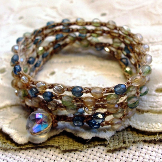 Bohemian Crochet Wrap Necklace or Bracelet, blue, green, pink