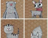 Funny animals set - 4 illustrations 20x20 cm, hand drawn NOT A PRINT