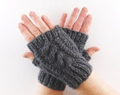 Charcoal Grey Aran Arm Warmer Gloves with Cable Design in Dark Gray Shade. Short Arm Warmers. Fingerless Gloves.