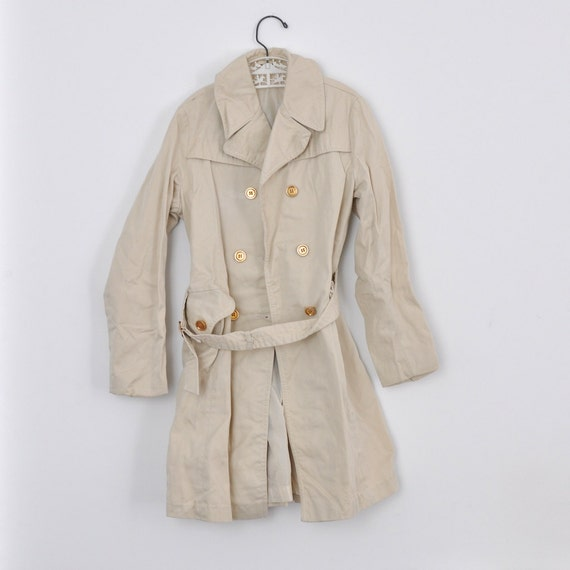 Vintage Euro Khaki Trench Coat (girls size 8-10)