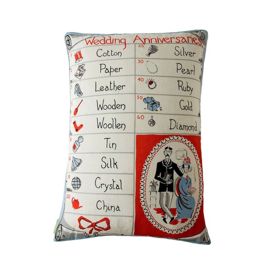 1950's Wedding Anniversary Pillow Vintage Cushion Mid Century Upcycled Tea Towel Cushion Cotton