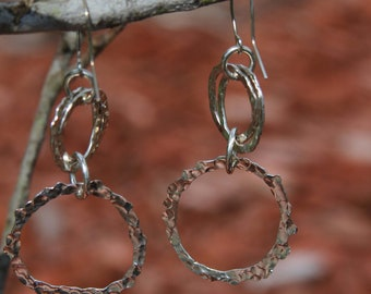 Starburst Sterling Silver Crazy link Earrings.