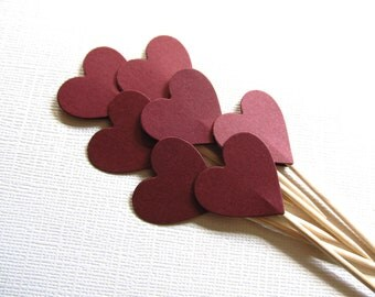 24 Dark Red Valentine Heart Cupcake Toppers, Party Decor, Double-Sided,  Burgundy, Autumn, Fall, Weddings, Showers, Valentine's Day