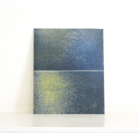 Sale / Etching Art Print / Minimalist Home Decor: Chiral 10 (in Navy Blues and Yellow)
