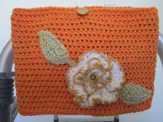 Crochet Patterns For Walker Bags : Crocheted Walker Bag Orange with Flower Small Tote Caddy
