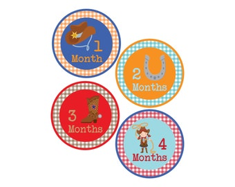 Cowboy Monthly Bodysuit Stickers with Gingham pattern - Baby Shower or New Mom gift - For babies 1-12 months