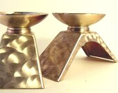 Ikora Candleholders, EP Brass 1950s Silver Pair Candle Holders