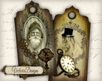 Steampunk Christmas Tags Labels instant download printable images digital collage sheet VD0278