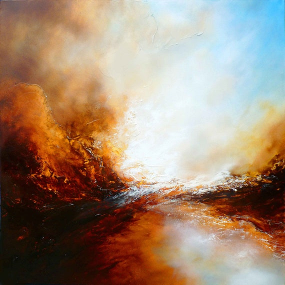 "Large Canvas Abstract Painting by Simon Kenny "" The Ages of Avalon"""