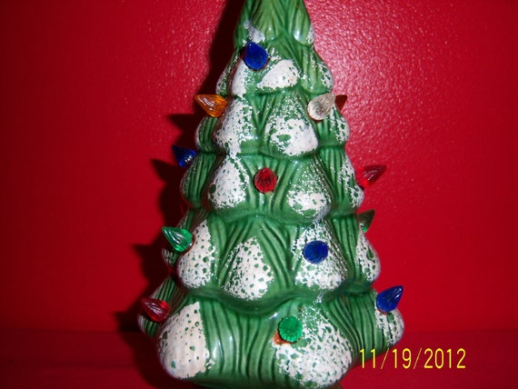 Vintage Lighted Ceramic Christmas Tree - Retro Tabletop Ceramic Tree Made in USA With Original Box
