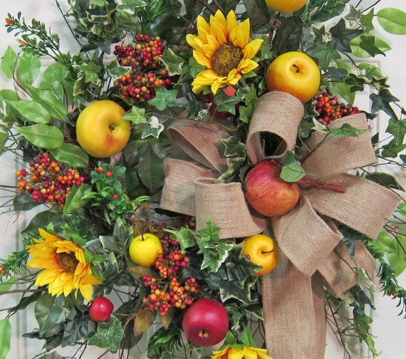 Gorgeous Fall Outdoor Wreath With Sunflowers, Apples, and Burlap Bow, Such a Beauty