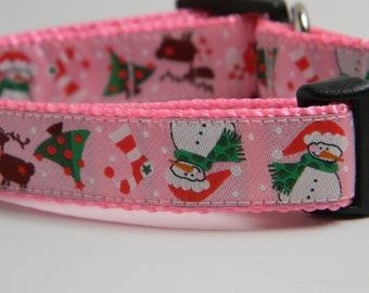 Christmas Dog Collar- Snowman, Reindeer, Trees Pink