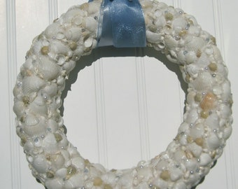 Shimmery White and Baby Blue Seashell Wreath