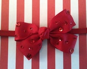 Baby Girl Headband...Red Bow on Red Headband...Red Baby Bow...Christmas Headband...Holiday Baby...Photo Prop: Newborn, Infant, Baby, Toddler