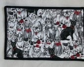 Cat Print Black and White Pet Mat  with a touch of red ...Christmas...Mug Rug