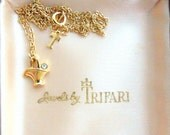 Trifari Necklace - Gold Plated Basket Pendant with Clear Crystal Detail