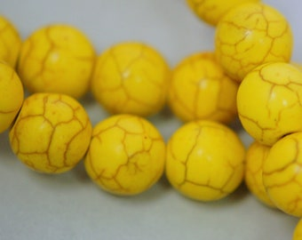 1 strand Synthetic Howlite Stone Beads ROUND Ball 10mm, LEMON YELLOW how0195