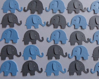 100 Blue and Grey Elephant Die Cut Paper Punch Embellishments Confetti