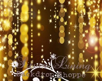 "NEW PRICE 48"" x 60"" Gold Glitter Falls / Vinyl Photography Backdrop"