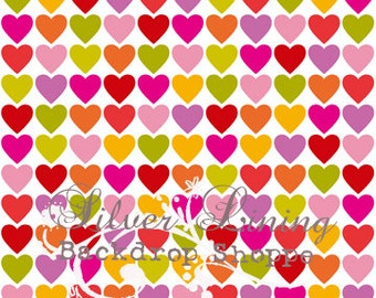 CUSTOMER FAVORITE 5ft by 5ft foot Vinyl Photography BACKDROP / Multi Colored Hearts