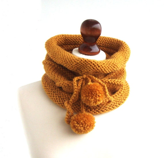 Yellow hand knitted cowl with pom poms, cozy neck warmer, honey yellow cowl