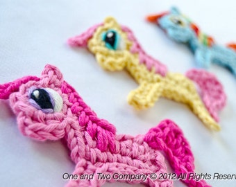 Instant Download - PDF Crochet Pattern - Pony Applique - Text instructions and SYMBOL CHART instructions