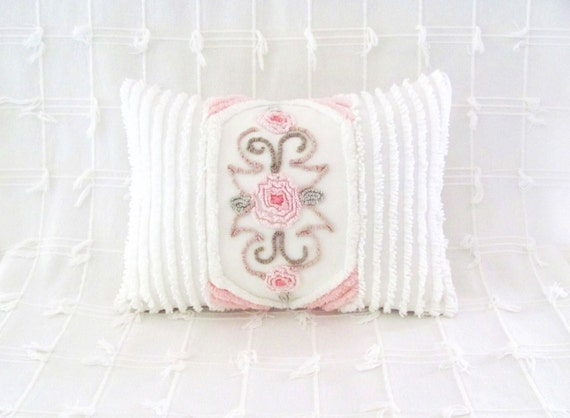 pink pillow cover THREE ROSES vintage chenille 12 X 16 pink roses cushion cottage chic shabby style