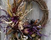Fall Wreaths, Autumn Wreath, Thanksgiving Decor, Woodland, Meadow, Feathers