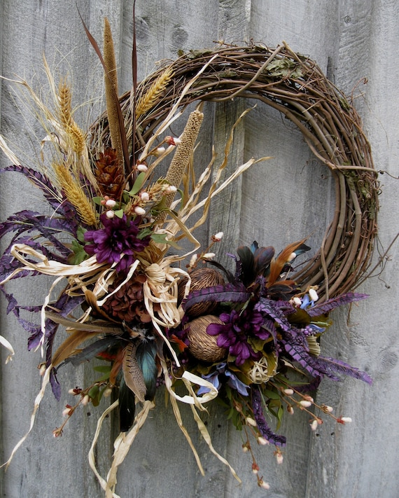 Fall Wreaths, Autumn Wreath, Thanksgiving Decor, Woodland, Meadow, Feathers